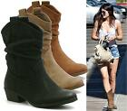 LADIES COWBOY WESTERN BOOTS MID CALF CASUAL SLOUCH PU COWGIRL CHUNKY HEEL SHOES