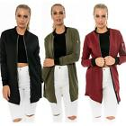 Fashion women solid zipper classic long bomber flight army green jacket tops
