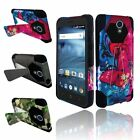 Hybrid Impact Rubber Armor Stand Hard Case Cover For ZTE Avid/Cheers/Trio
