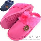 Ladies / Womens Mules / Slippers / Indoor Shoes with Button Design