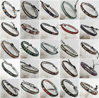 4/6/8mm Mixed Stone Round Beads Wrap Black Leather Adjustable Bracelet xx8075