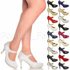 WOMENS LADIES HIGH HEEL MARY JANE STRAP FORMAL WORK PARTY COURT SHOES SIZE