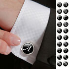 2pcs MENS Suits Shirt CUFFLINKS PERSONALIZED Glass Cabochon LETTERS CUFF LINKS