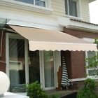 8.2'×6.5' Manual Patio Retractable Deck Awning Outdoor Sunshade Shelter Canopy