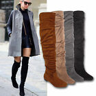 WOMENS LADIES LONG THIGH HIGH OVER THE KNEE LOW HEEL STRETCH SLOUCH FLATS BOOTS