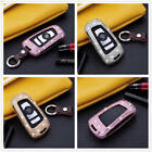 For BMW Car Key Case Bling Diamond Cover Keyless Entry Aluminum Genuine Leather