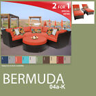 Bermuda 7 Piece Outdoor Wicker Patio Package BERMUDA-04a-K - Tangerine