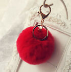 Nice Real Rabbit Fur Ball PomPom Car Phone Keychain Handbag Charm Key Ring