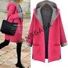 Fashion Womens Casual Hooded Wool Blend Trench Coat Loose Plus Size Jacket Chic