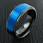 8mm Men's Black Tungsten Ring Brushed Blue Stripe Wedding Band Jewelry