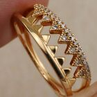 2in1 Size6 7 8 9 Shark Tooth White CZ Jewelry Yellow Gold Filled Ring Sets R2554