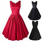50'S 60'S Vintage Womens Elegant V-neck Ladies Summer Evening Party Swing Dress