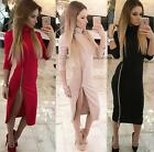 High Neck New Autumn Women Casual Dress Side Zipper Up Split Long Sleeve dress