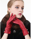 women mid length two white Rhinestones winter warm gloves black and red