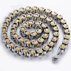Mens Chain Jewelry Greek Pattern Box Byzantine Stainless Steel Necklace For Men