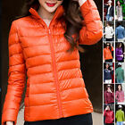 Womens Winter Down Jacket Stand Collar Warm Coat Slim Candy Color Overcoat Parka