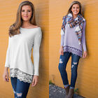 New Womens Plus Size Scoop Neck Ladies Long Sleeve Casual Shirt Long T-shirt Top