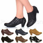 WOMENS LADIES LOW MID CUBAN HEEL BUTTON SMART WORK ANKLE SHOE BOOTS BOOTIES SIZE