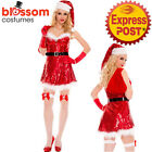 Red Sparkle Sequins Santa Dress Womens Costume