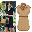 Smart Casual Shirt Dress Party belted formal Vintage Office Womens fashion Size