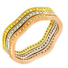 Sterling Silver CZ Tri Color Stackable Eternity Anniversary Wedding Band Set 5-9