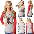 Women Casual T-Shirt Pullover Christmas Reindeer Long Sleeve Tops Blouse N4U8