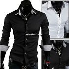 Men Plaid Slim Fit Two collar Dress Shirts Luxury Long Sleeve Casual Shirts