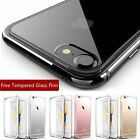 Luxury Jet Black Aluminum Metal Gel Clear Case For iPhone 7 Plus +Tempered Glass