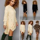Womens Casual Long Sleeve Knitted Pullover Loose Sweater Jumper Tops Knitwear