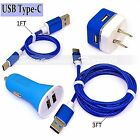 LOT (1Ft+3Ft USB Type-C +Car & Wall Charger) Braided Cord Cable Top Quality BLUE