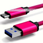 6FT - Nylon Braided Rope USB-C Type-C 3.1 Data Sync Charger Charging Cable ROSE