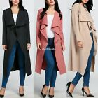 2016 Womens Ladies Maxi Long Sleeve Waterfall Belted Duster Casual Coat/ Jacket