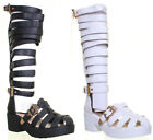 13234  Womens Block Heel Knee High Gladiator Sandal Side Buckle Ladies Gorgeous