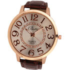 Fashion Womens Numerals Golden Big Dial Leather Analog Quartz Dress Sports Watch