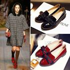 Fashion women british ankle shoes patent leather slip on bowknots round toe
