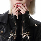 women fashion chain style half finger fingerless top lamb skin leather gloves