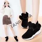 Womens Casual Pull On Faux Fur Lined Strappy Heels Leisure Round Toe Ankle Boots