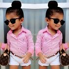 2pcs Kids Girls Clothes Long Sleeve Striped T Shirt Tops+Shorts Baby Outfit Sets