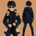 Kids Boys Woolen Duffle Coats Cardigans Warm Jackets Hooded Parka Trench Outwear