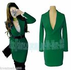 WOMENS Business Casual Career front open long sleeve dress GREEN US size S-2XL