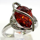 HUGE 4 CT GARNET PEAR SHAPE 925 STERLING SILVER RING SIZE J-T