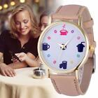 Fashion Women Leather Stainless Steel Date Quartz Analog Wrist Watch Dress Watch