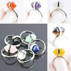 Quartz Lazuli Agate Gemstone Hexagonal Prism Cocktail Finger Ring Adjust Reiki