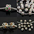 Austrian Crystal Cylinder Column Big Hole Charm Spacer Beads Findings Fit Chain