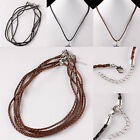 PU Leather Skinny Braided Cord Rope Clasp Adjustable Chain Necklace Fit EP Beads