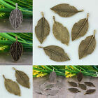 Wholesale Tibetan Silver Bronze Leaf Leaves Pendant Charms Beads Metal Findings