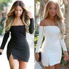 New Summer Women Sexy Off Shoulder Long Sleeve Bodycon Mini Cocktail Party Dress