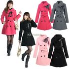 Womens Ladies Double Breasted Slim Belted Design Long Jacket Trench Coat
