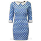 Ladies Dress Womens Bodycon Floral Print Roll Up Long Sleeved Collared Neck New