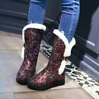 Ladies Stylish Sequins Fur Trim Mid Calf boots Pull on Buckle Winter Snow Shoes